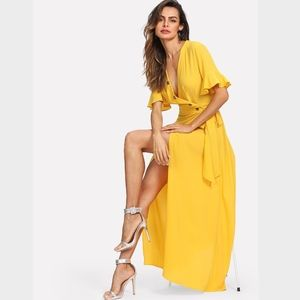 Button Up V-Neck Maxi Wrap Dress Side Tie Yellow